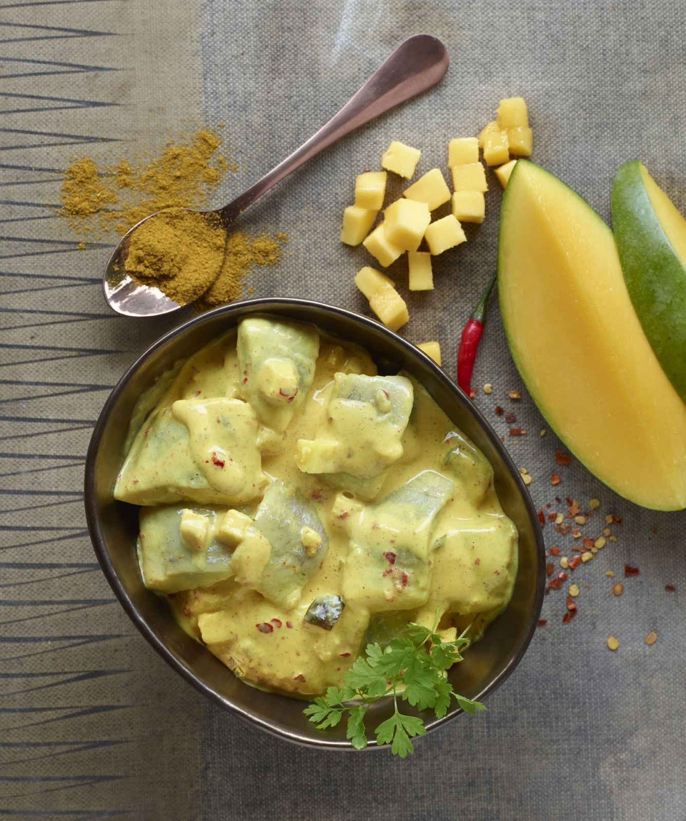Hareng curry et mangue